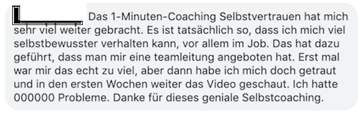 Testimonial 1-Minuten-Coaching